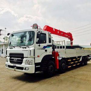 xe tải hyundai HD320 gắn cẩu atom 12 tấn